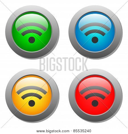 Wifi icon on bright buttons set