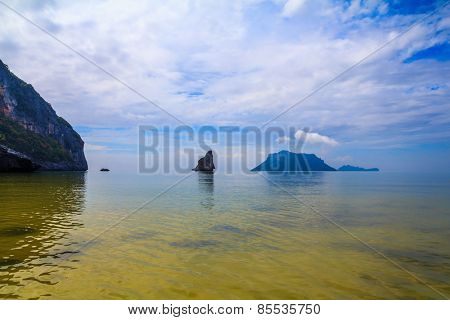 Morning mist on the Andaman Sea, Thailand. In the distance the small and large islands. Great vacation at sea