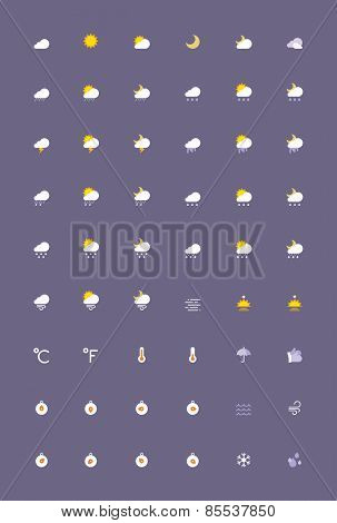 Set of the weather related icons