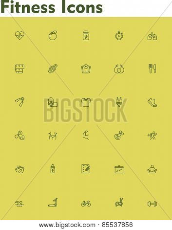Set of the fitness and sport related icons