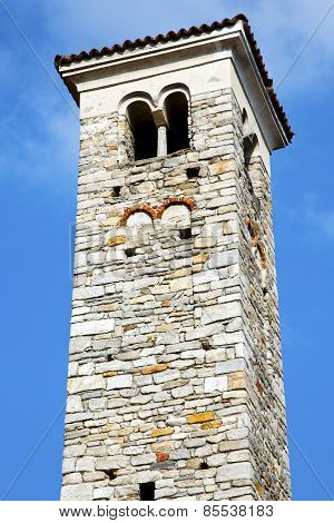 In Varano Borghi  Old Abstract  Church Tower Bell Sunny Day