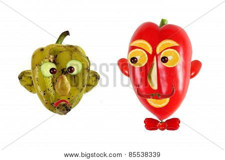 Creative Food Concept. Positive And Negative Portraits Made Of Green And Red Peppers