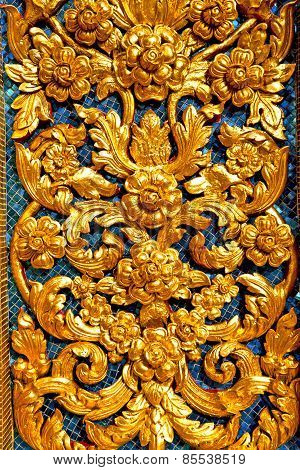 Window   In  Gold    Temple    Bangkok  Flower  Of The Temple