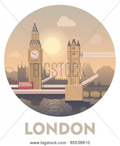 Vector icon representing London as a travel destination