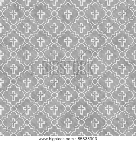 Gray And White Cross Symbol Tile Pattern Repeat Background