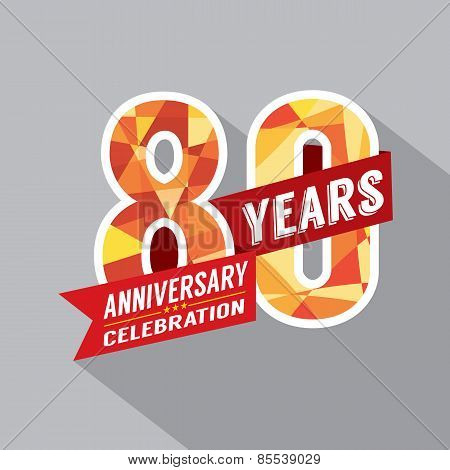 80Th Years Anniversary Celebration Design.