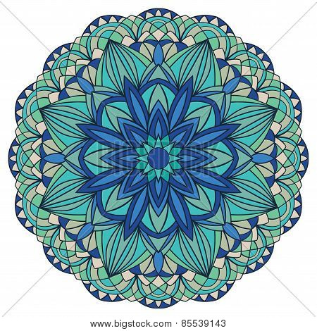 Colorful, Vector Mandala In Blue Tones.