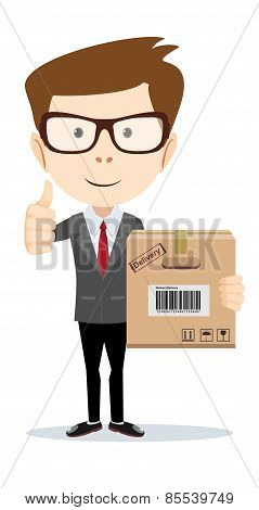 Businessman brought order, vector illustration