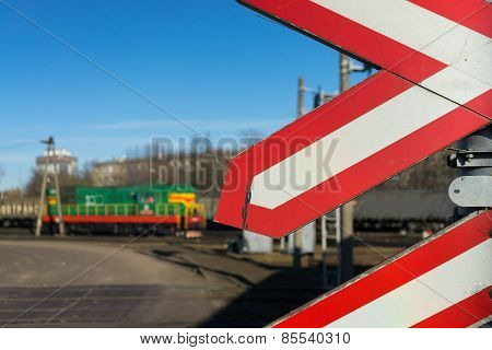 Warning Signs At Railway Crossing With The Train