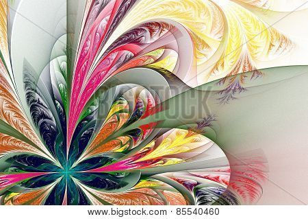Diagonal Asymmetrical Multicolor Fractal Tracery. Collection - Frosty Pattern. On White.