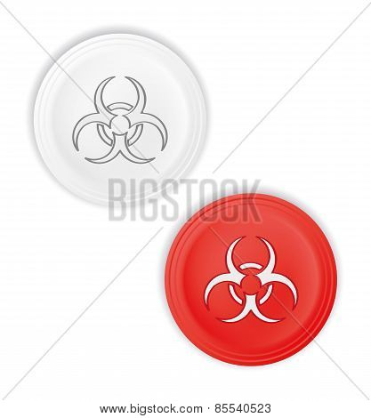 Buttons With Biohazard Symbol
