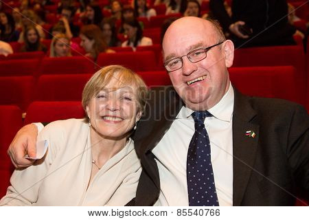 MOSCOW, RUSSIA - MARCH 10: Ambassador of Ireland to the Russian Federation Eoin O'Leary with wife, Opening Ceremony of the Irish Week Film Festival at Dom Kino on March 10, 2015 in Moscow, Russia