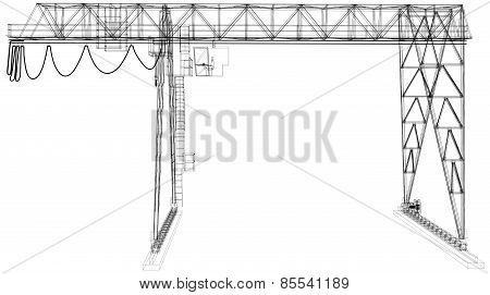 Gantry crane. Wire-frame. Vector rendering of 3d