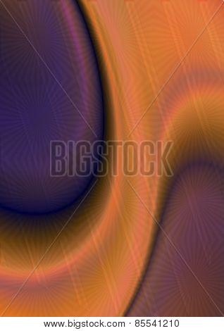 Orange curved shape with purple oval form covered transparent pattern