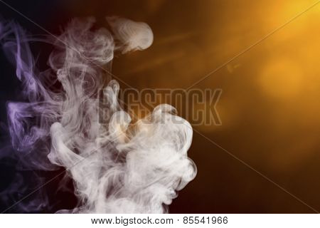 Smoke With Colored Lights For Compositions And Overlays