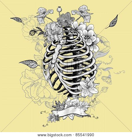 Skeleton Ribs and Flowers, Vector illustration