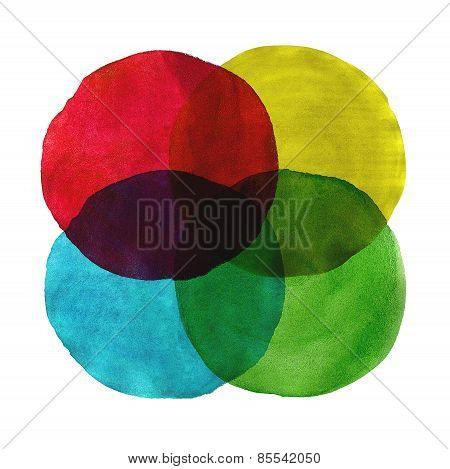 Abstract Watercolor Circles Painted Background