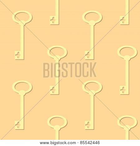 Seamless background with retro keys silhouette