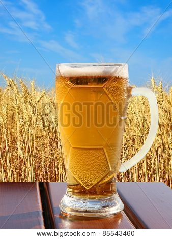 Beer Glass On Wooden Table Against Of Wheat And Sky.