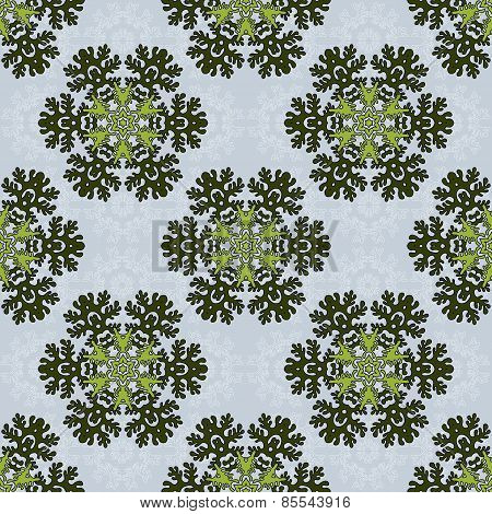 Seamless Background With Round Floral Elements