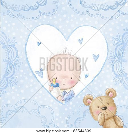 Baby shower greeting card.Baby boy with teddy,Love background for children.