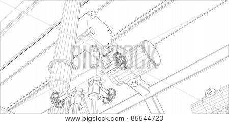 Wire-frame industrial equipment on white background
