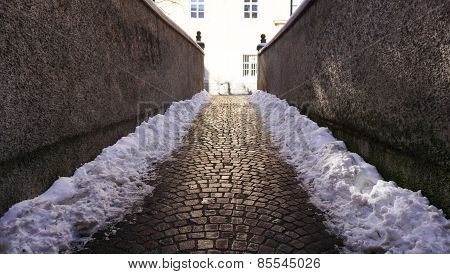 Walkway with Snow In Oldtown
