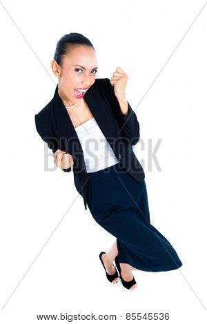Asian business woman celebrating her success