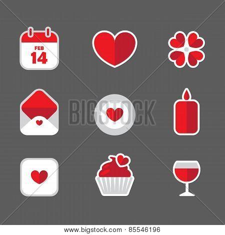 valentine flat icons