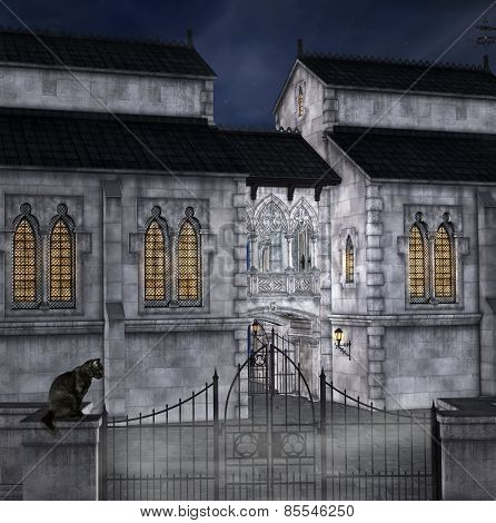 Mysterious palace by night