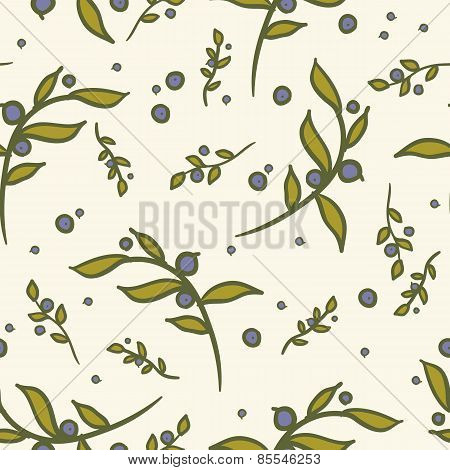 hand-drawn floral and berries seamless pattern