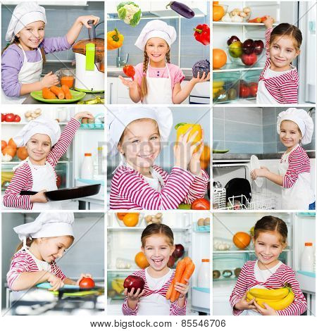 photo collage of girl in the kitchen preparing a meal using various vegetables