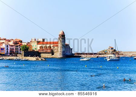 The bay of Collioure with church Notre-Dame des Anges, Southern France