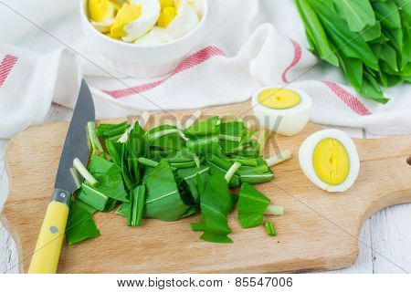 Ramson And Boiled Eggs. Set For Spring Salad