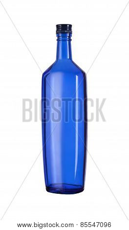 Empty Blue Glass Bottle Wine.