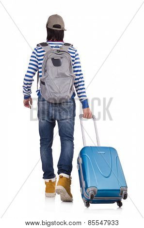 A tourist with bags isolated on white