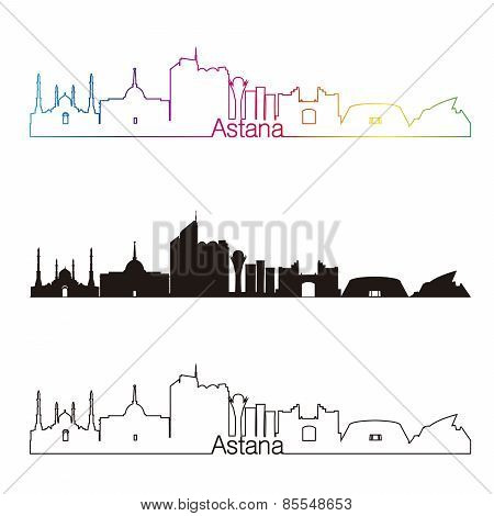 Astana Skyline Linear Style With Rainbow