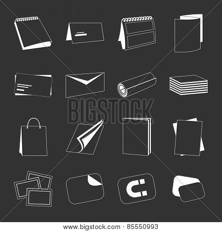 Printing house web monochrome white icons set
