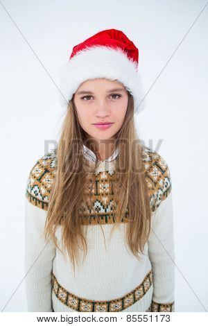 Hipster looking at camera on white background