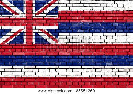 Flag Of Hawaii Painted On Brick Wall