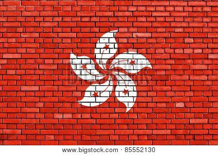 Flag Of Hong Kong Painted On Brick Wall