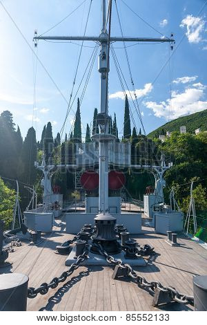 Gardone Riviera, lake Garda, Italy - May 05, 2014  ship and museum in garden Villa Vittoriale  Home