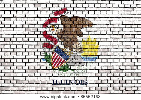 Flag Of Illinois Painted On Brick Wall