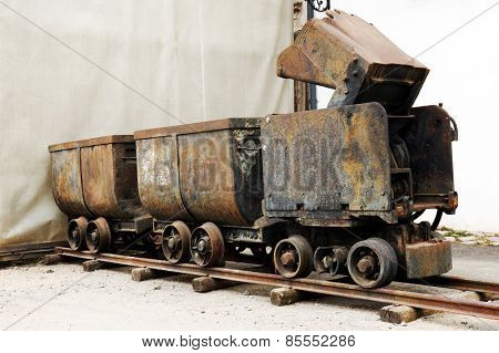 Historic mining rusty wagons