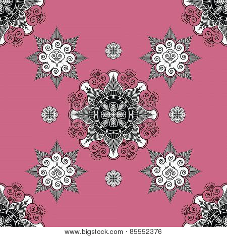 Folk Inspired  Wallapaper Pale violet Red