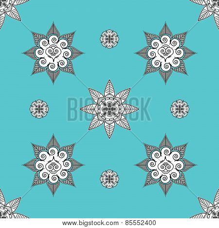 Folk Inspired Turquoise Wallpaper