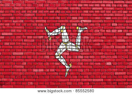 Flag Of Isle Of Man Painted On Brick Wall