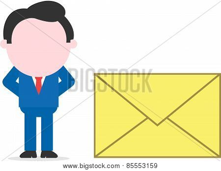 Businessman Beside Mail Icon