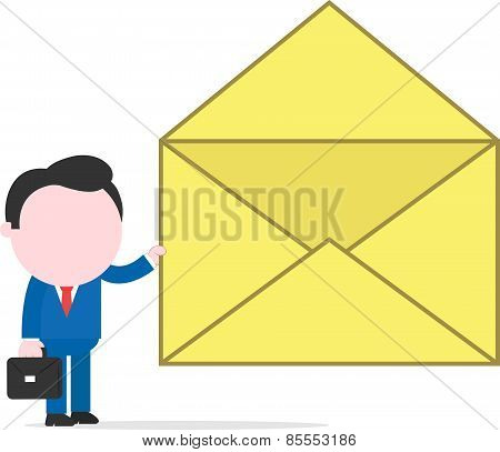 Businessman Holding Open Mail Icon