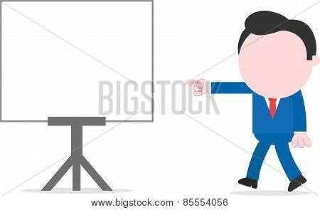 Businessman Walking And Pointing To Chart